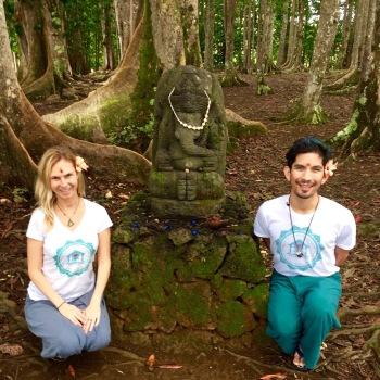 Uta, Ganesha and Troy at Kauai Rudraksha Forest, 2015