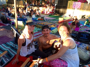 Relaxing between yoga classes at main stage